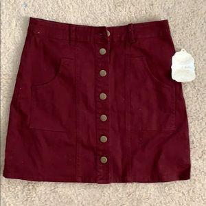 altar'd state burgundy button up skirt